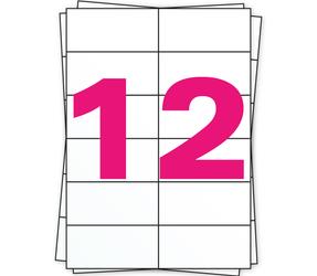 Afbeelding van Étiquette autocollante A4, 12 par planche, blanc, permanent, 105mm x