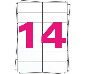 Afbeelding van Étiquette autocollante A4, 14 par planche, blanc, permanent, 105mm x