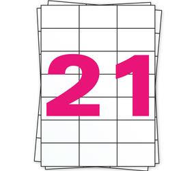 Afbeelding van Étiquette autocollante A4, 21 par planche, blanc, permanent, 70mm x