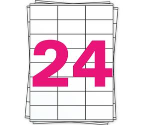 Afbeelding van Étiquette autocollante A4, 24 par planche, blanc, permanent, 70mm x