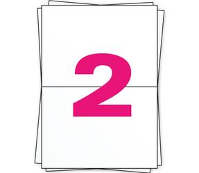 Afbeelding van A4 étiquettes, 2 par planche, blanc, 210mm x 148mm, 500 par boîte