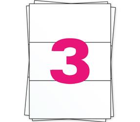 Afbeelding van A4 feuilles d'autocollants, 3 par planche, blanc, 98.5mm x 210mm