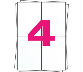 Afbeelding van A4 étiquettes autocollantes, 4 par planche, blanc, 104mm x 148mm