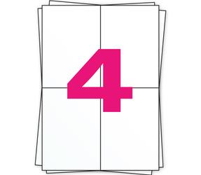 Afbeelding van A4 feuilles d'autocollants, 4 par planche, blanc, 104mm x 148mm, 1000