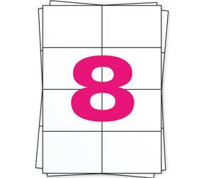 Afbeelding van A4 feuilles d'autocollants, 8 par feuille, blanc, 105mm x 74mm - 1000