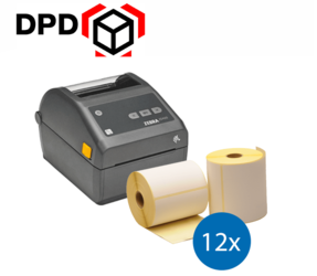 Lot d'initiation DPD : Zebra imprimante ZD420D ethernet + 12 rouleaux d'étiquettes Zebra compatibles 102mm x 150mm