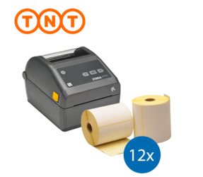 Lot d'initiation TNT : Zebra imprimante ZD420D ethernet + 12 rouleaux d'étiquettes Zebra compatibles 102mm x 150mm