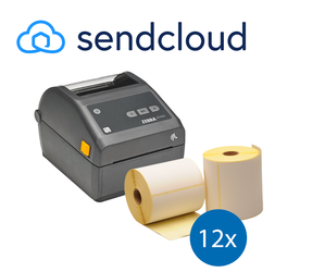 Lot d'initiation SendCloud: Zebra imprimante ZD420D ethernet + 12 rouleaux d'étiquettes Zebra compatibles 102mm x 150mm