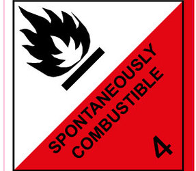 Étiquettes IMO 4.2 Spontaneously combustible, 100mm x 100mm, 1000 étiquettes