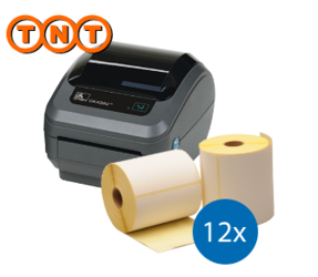 Lot d'initiation TNT : Zebra imprimante GK420D ethernet + 12 rouleaux d'étiquettes Zebra compatibles 102mm x 150mm